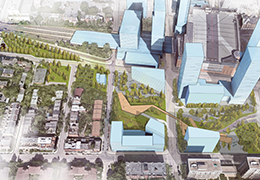 Perspective de l'aménagement du nouveau parc Ville-Marie