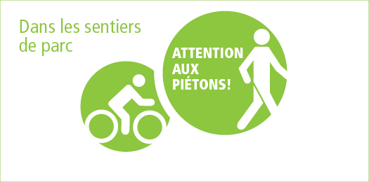 Cyclistes : attention aux pi�tons aux sentiers de parc!