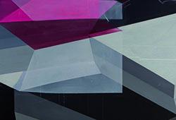 Antonietta Grassi, Memory Cubes (détail) 2016, huile et encre sur toile, 150 X 300 cm