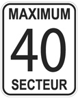 Traffic signs used in the 40 km/h sectors