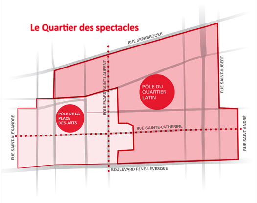 Carte Quartier  des spectacles - pôle du Quartier latin
