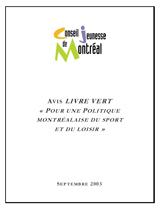 Couverture de l'avis sur le Livre vert pour une Politique montréalaise du sport et du loisir.