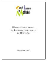 Couverture du mémoire sur le projet de Plan d'action famille de Montréal .