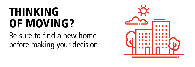 Thinking of moving? Be sure to find a new home before making your decision.