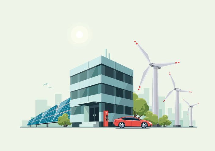Vector illustration of modern green eco business office building with green trees and electric car charging in front of the workplace in cartoon style. Solar panels and wind turbines are int the background.