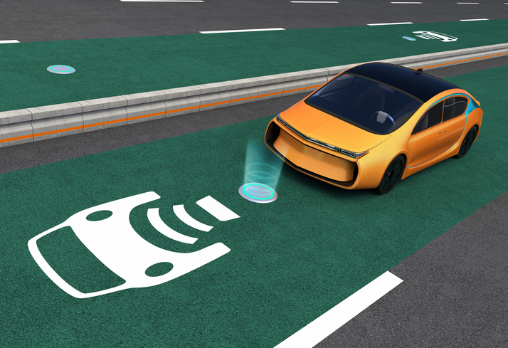 Yellow electric car on EV wireless charging lane. The in-road wireless charging coil have graphic to show charging progress. 3D rendering image.
