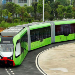 Driverless train that only needs white painted lines as tracks