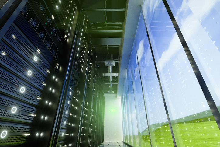 Data center in nature.network servers racks with light,3D physically rending high quality.the cloud image of the background,shoot in QinHai,China with myself.