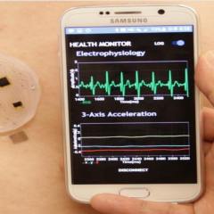 Soft, stick-on patch collects, analyzes and transmits health metrics from body to smartphone