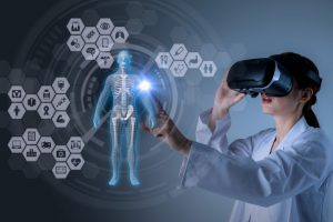 medical technology concept. virtual reality. 3D rendering. mixed media abstract.