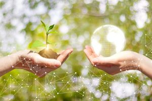 Sprout growing in a hand and Globe in a businesswoman hand.