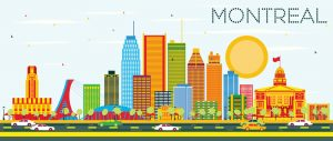Montreal Skyline with Color Buildings and Blue Sky. Vector Illustration. Business Travel and Tourism Concept with Historic Architecture. Image for Presentation Banner Placard and Web Site.
