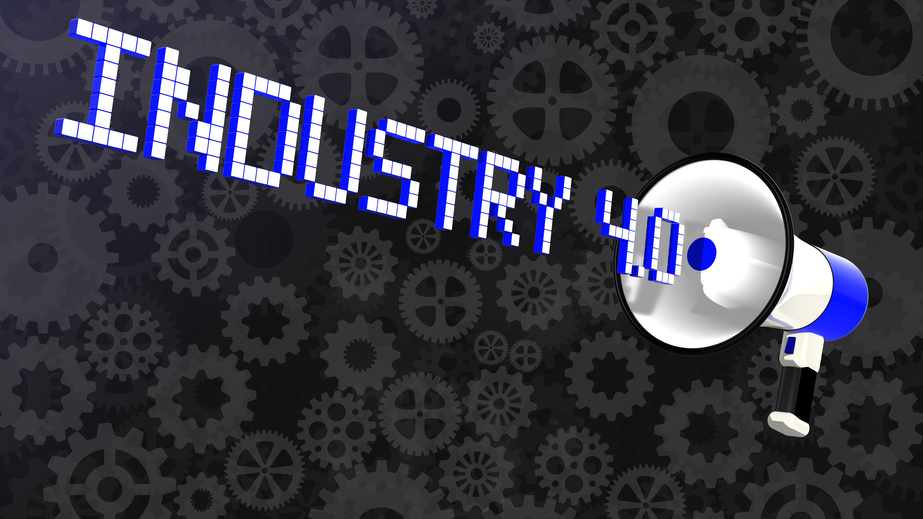 White megaphone emitting the word Industry 4.0  3D illustration on a background with various cogs