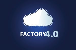 A cloud of gears. Symbol of Factory 4.0. Vector illustration