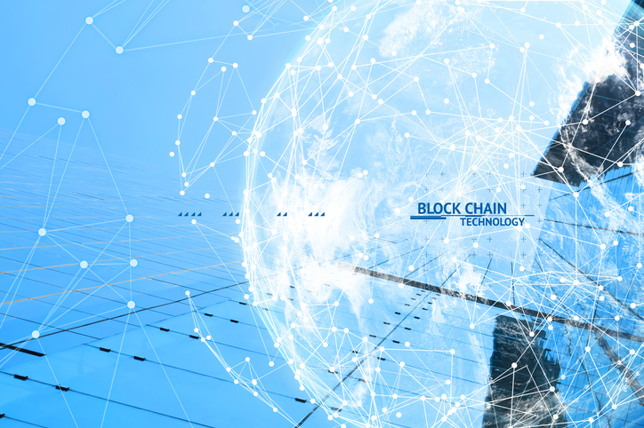 Fintech technology and Blockchain network concept , Distributed ledger technology connect wireframe and cloud globe furnished by NASA with blue building background and text.