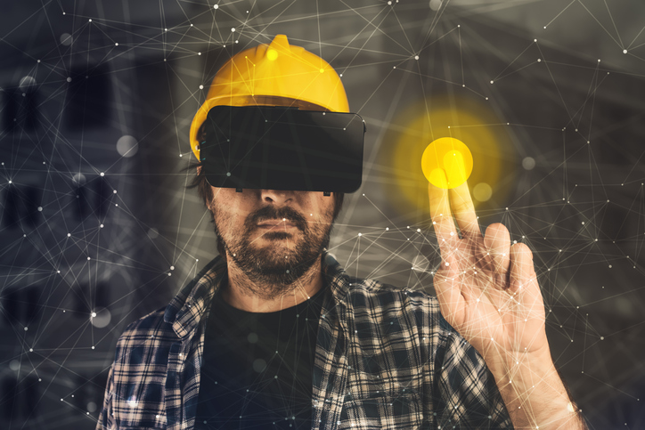 Construction engineer with VR goggles managing building project, futuristic 3d cyberspace technology in architecture and construction industry