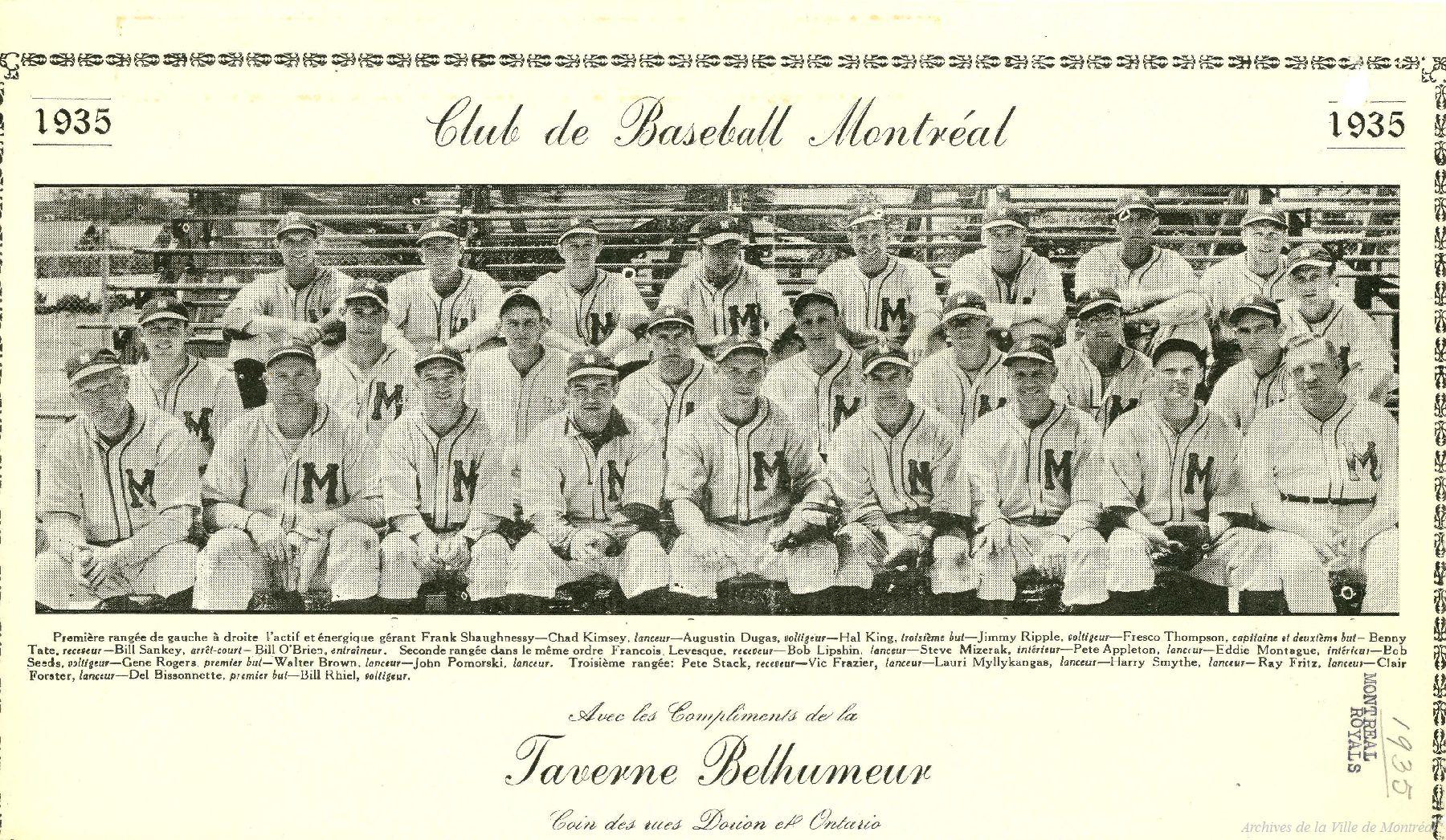 L'équipe de 1935 des Royaux de Montréal.