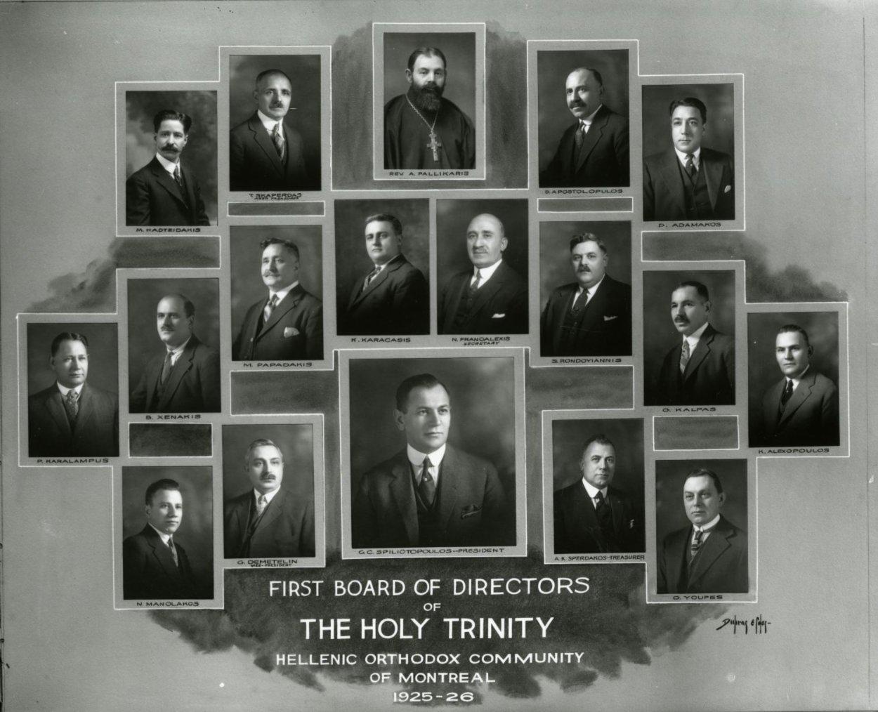 Photo composite montrant les membres du conseil d'administration de Holy Trinity en 1925-1926