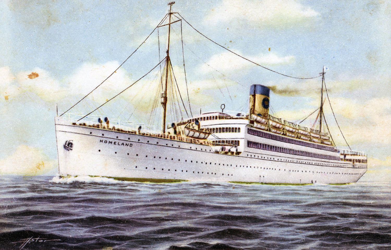 Carte postale du Homeland, un des navires ayant traversé l'Atlantique du Portugal au Canada.