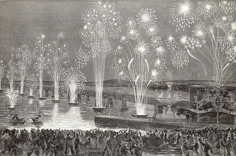 Lithographie montrant les célébrations de l'inauguration du pont Victoria en 1860 avec des feux d'artifice le long du pont et une foule nombreuse en avant-plan.