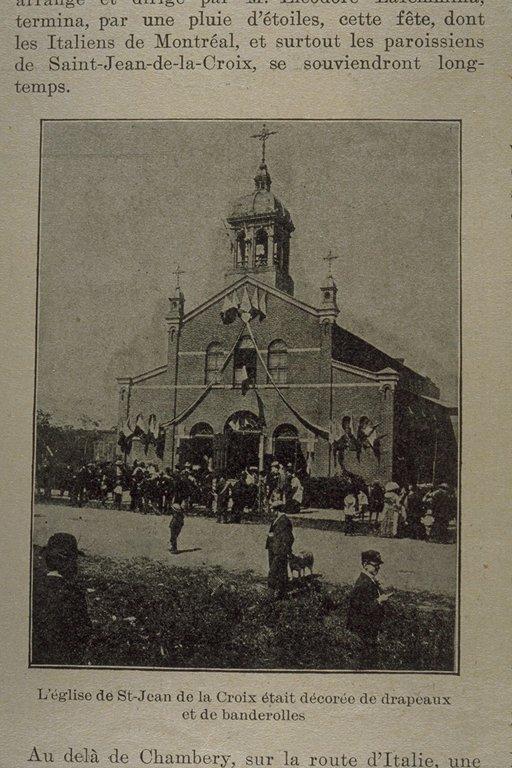 Photo tirée de l'Album universel montrant une fête religieuse italienne devant l'église Saint-Jean-de-la-Croix