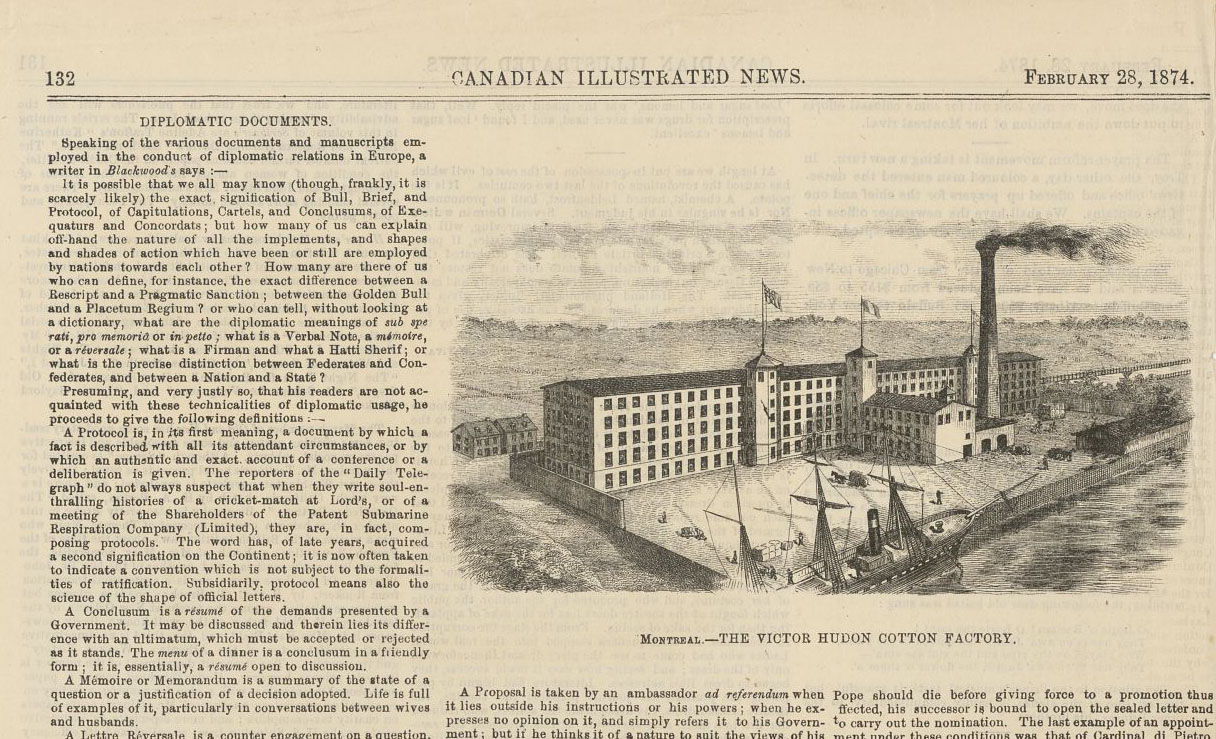 Page du Canadian Illustrated News montrant une illustration de la filature Hudon