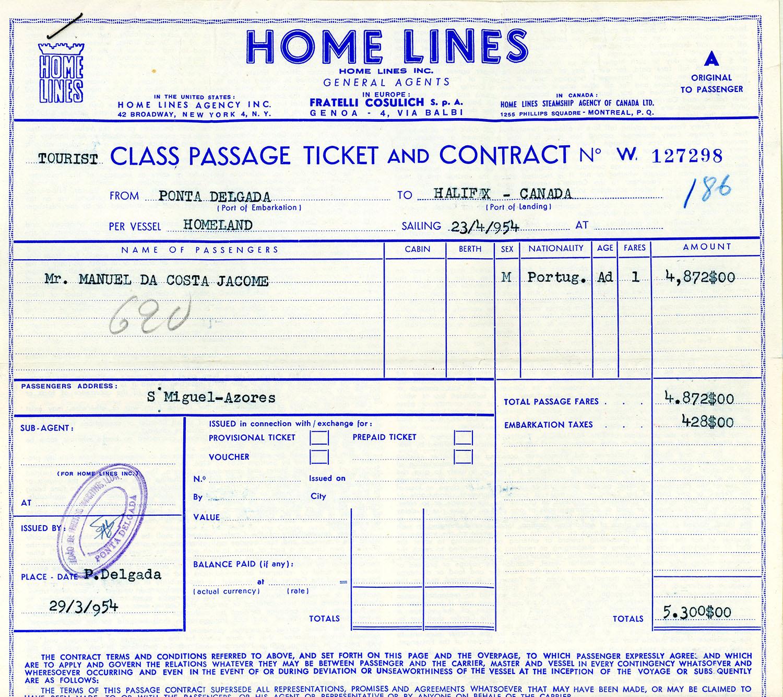 Billet pour le voyage en bateau de Manuel da Costa Jácome de Ponta Delgada à Halifax en 1954