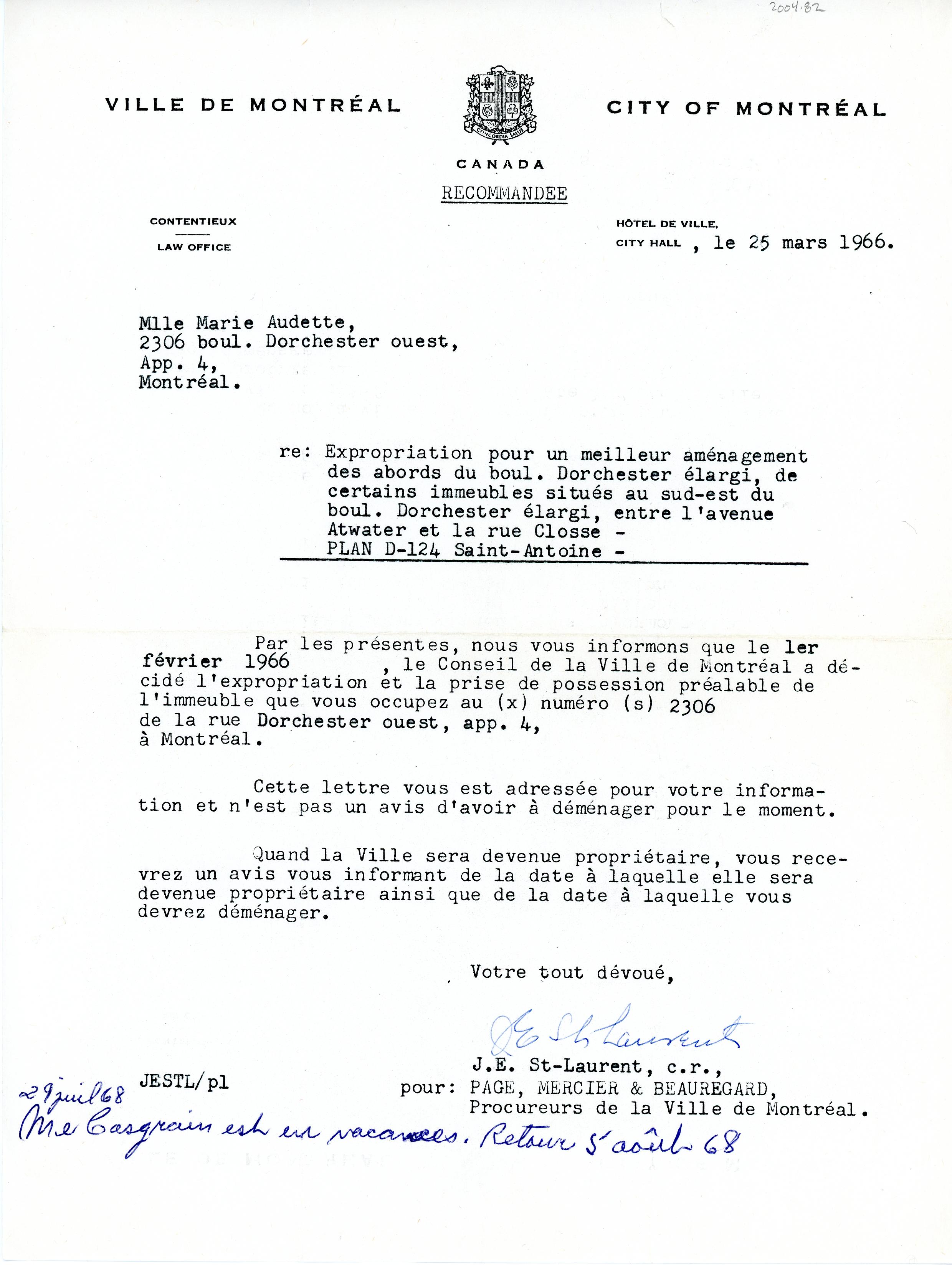 Lettre de la Ville de Montréal pour l'expropriation d'une maison rue Dorchester en 1966.