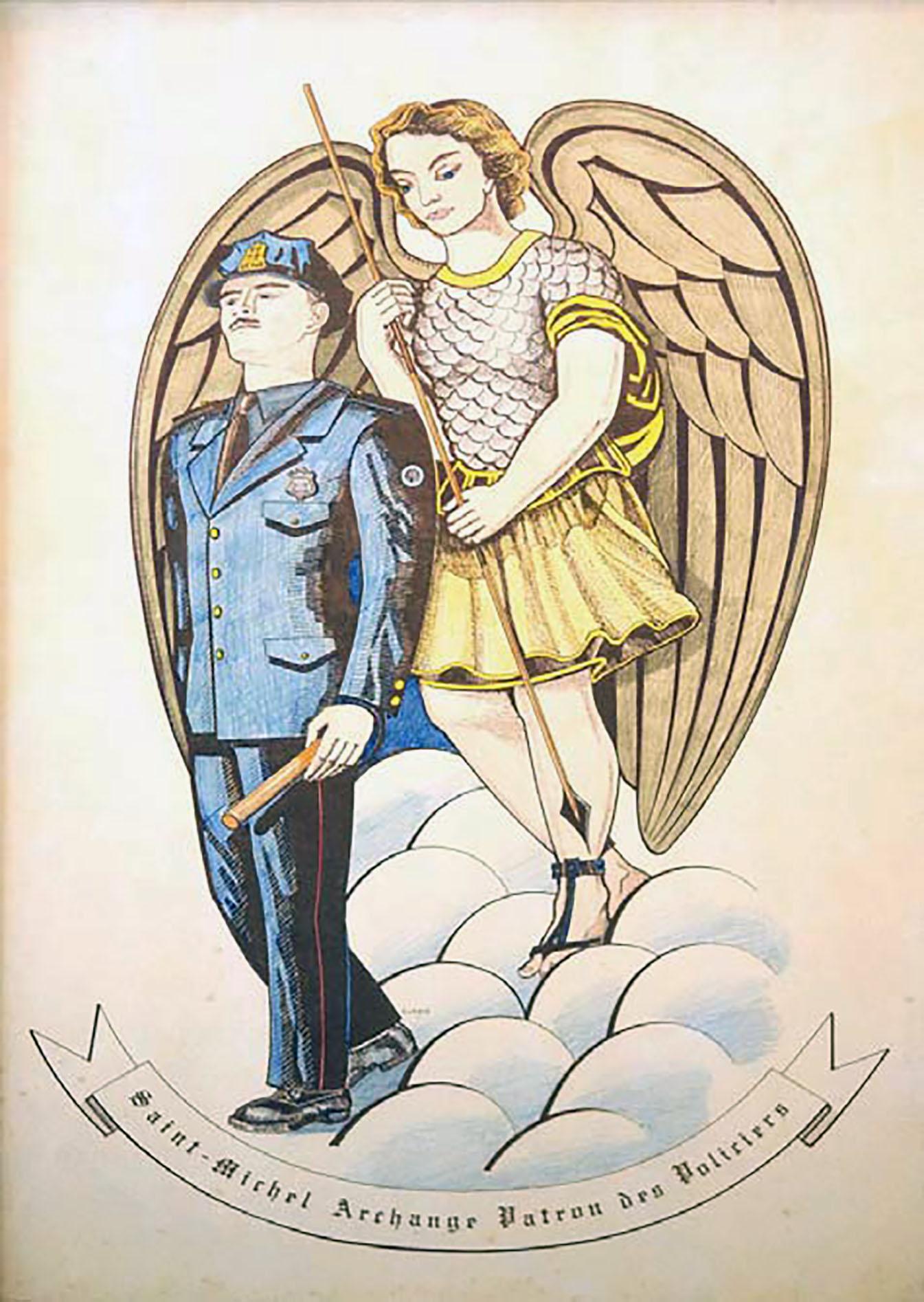 Illustration en couleurs sur laquelle est visible au premier plan un policier dans un uniforme bleu. Derrière lui se tient un personnage ailé. Sous eux, il y a une banderole où on peut lire « Saint-Michel Archange Patron des Policiers ».