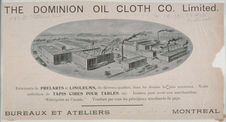 Publicité de la compagnie Dominion Oil Cloth montrant une illustration des usines.