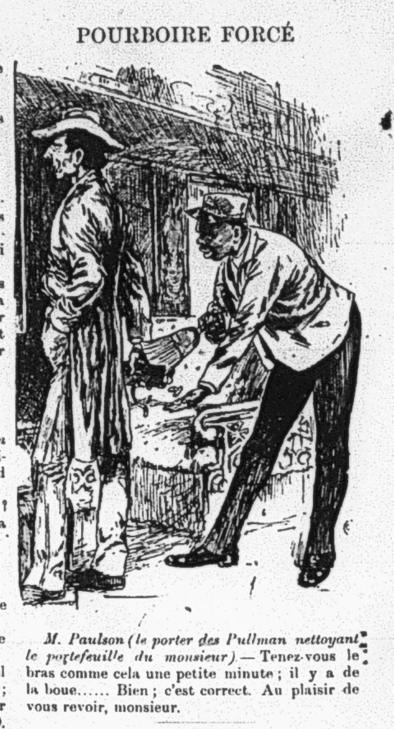 Illustration raciste intitulé Pourboire forcé dans un journal montréalais en 1890.