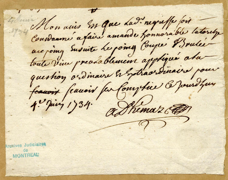 Document d'archives de Jean-Baptiste Adhémar sur la sentence qui devrait être donnée à Marie-Josèphe-Angélique