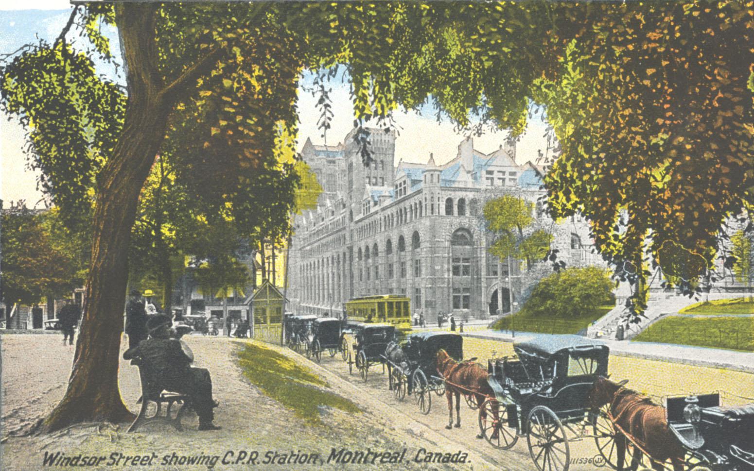 Carte postale montrant la gare Windsor vue de la rue Windsor, premier quart du XXe siècle.
