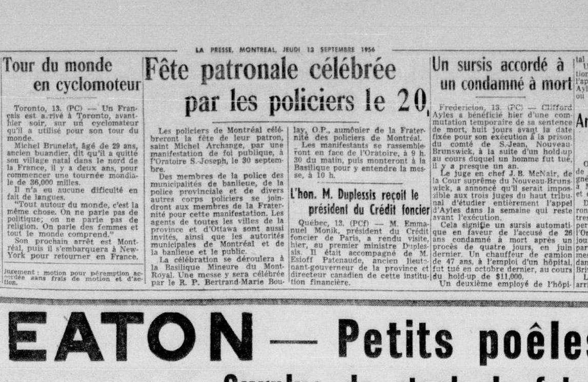 Article du journal La Presse de 1956 s'intitulant « Fête patronale célébrée par les policiers ».