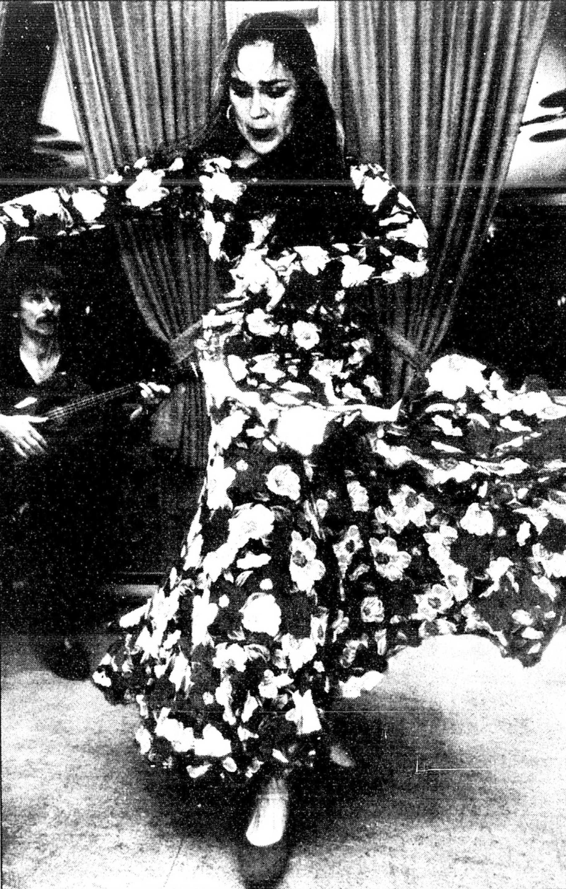 Une danseuse de flamenco à l'avant-plan et un guitariste à l'arrière-plan
