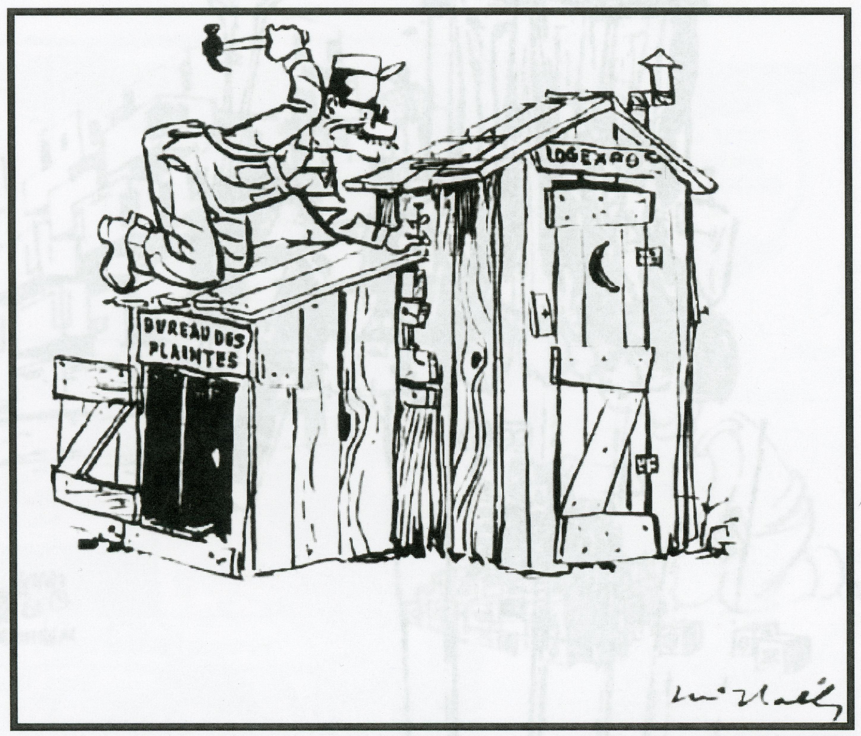 Caricature montrant un homme en train de construire une cabane en bois pour le bureau des plaintes de Logexpo