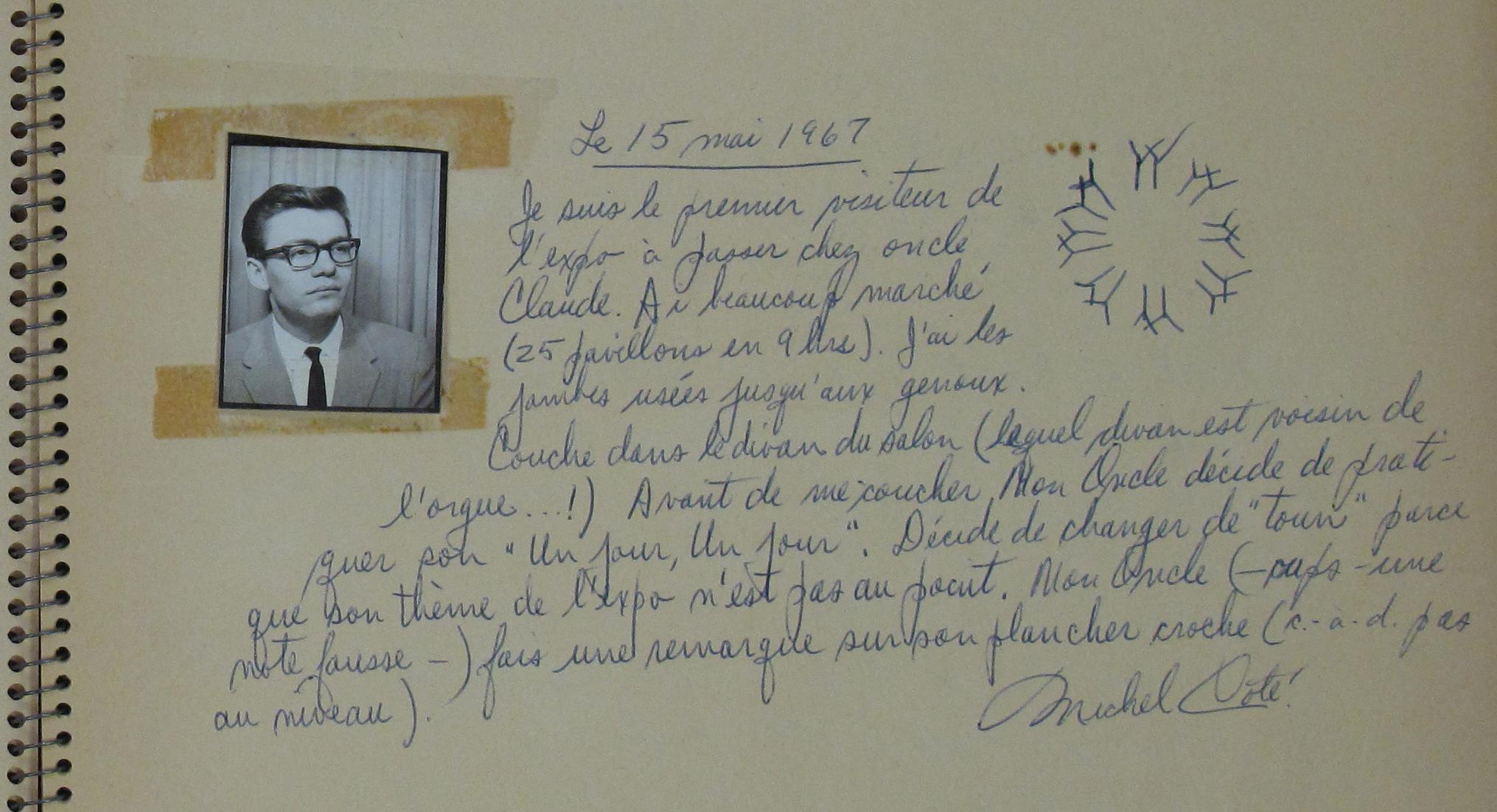 Commentaire d'un visiteur dans le livre de signatures d'une famille qui hébergeait des visiteurs d'Expo 67