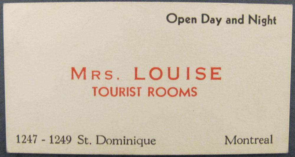 Carte d'affaires de Madame Louise, Tourist rooms.