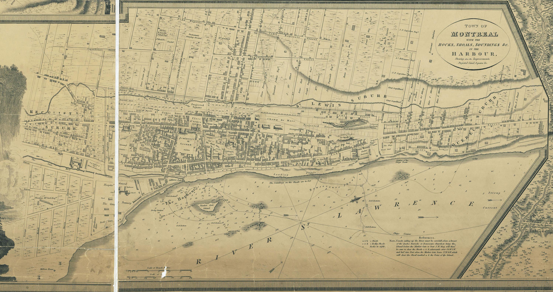 Carte de Joseph Bouchette illustrant le réaménagement projeté par le Plan des commissaires.