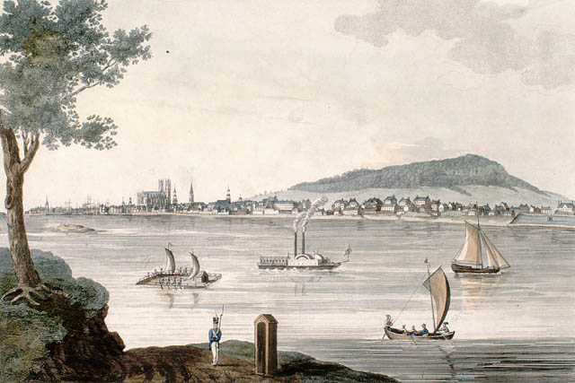 Vue de Montréal à partir de l'île Sainte-Hélène en 1830.