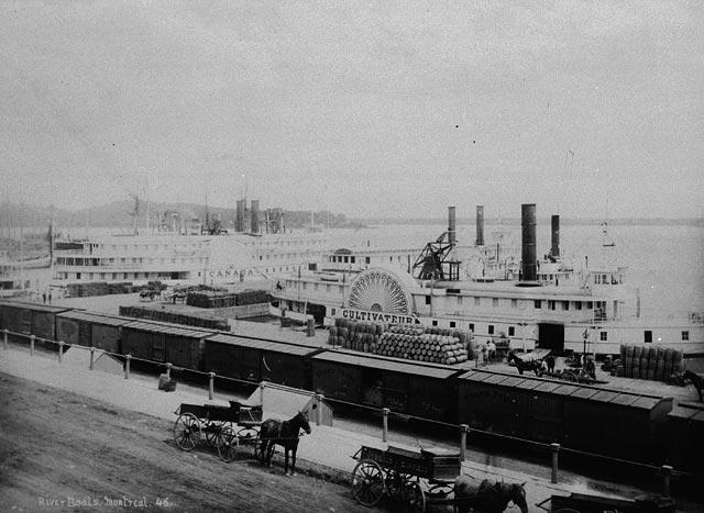 Les bateaux à vapeur Canada et Cultivateur amarrés dans le port de Montréal en 1875.