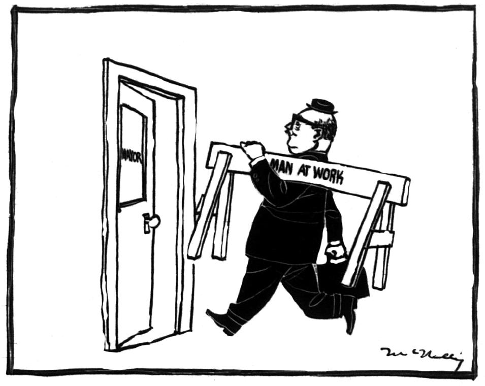 """Caricature montrant Jean Drapeau avec une clôture de chantier où il est écrit """"Man at Work""""."""
