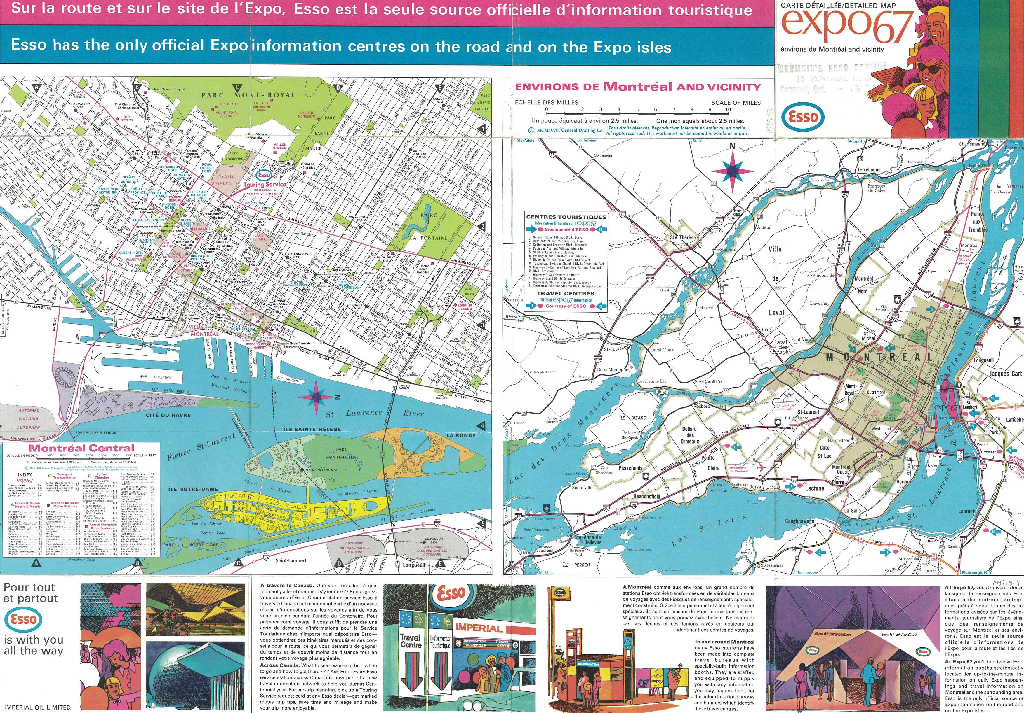 Carte détaillée Expo 67 et environs de Montréal produite par Esso