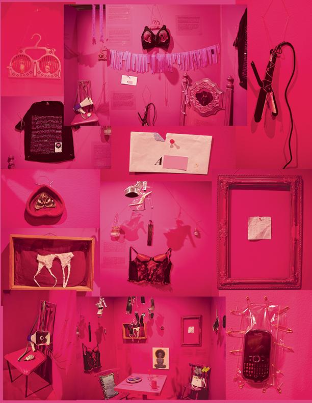 Différentes images d'une pièce aux murs roses qui contient des objets utilisés par les travailleuses du sexe.