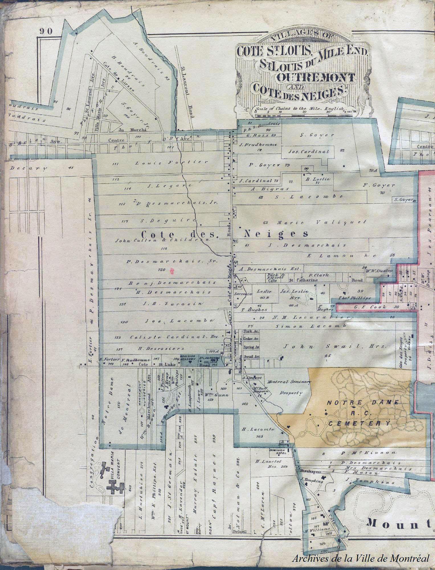 Plan ancien sur lequel on peut voir l'emplacement de terres agricoles et la trajectoire d'un ruisseau.