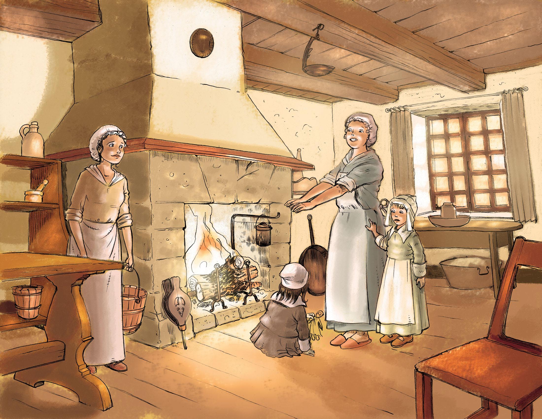 Illustration de l'intérieur d'une maison à l'époque de la Nouvelle-France avec le foyer