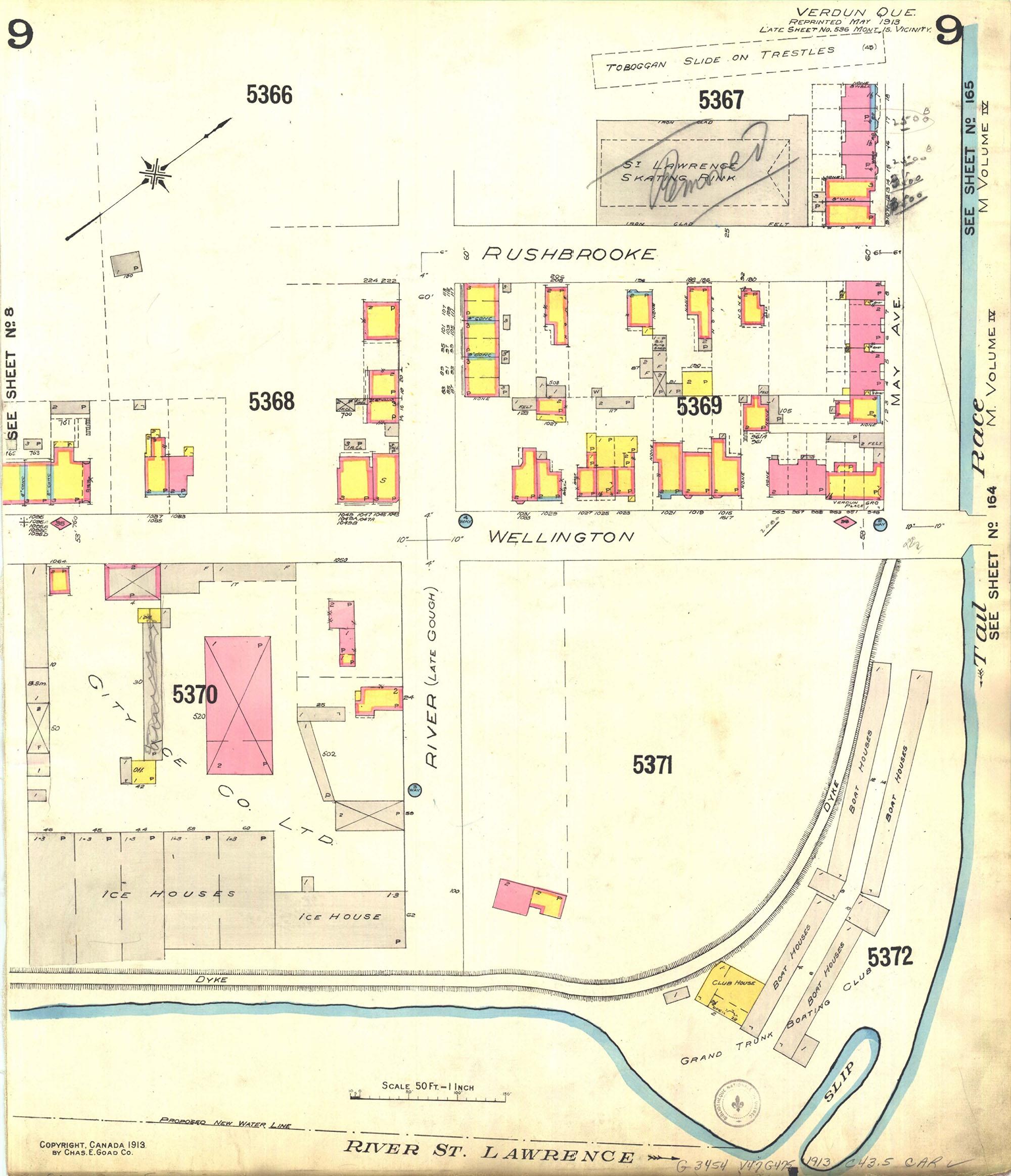 Plan d'assurance-incendie montrant le quadrilatère formé par les voies Wellington, River (aujourd'hui Gilberte-Dubé), Rushbrooke et May en 1913.