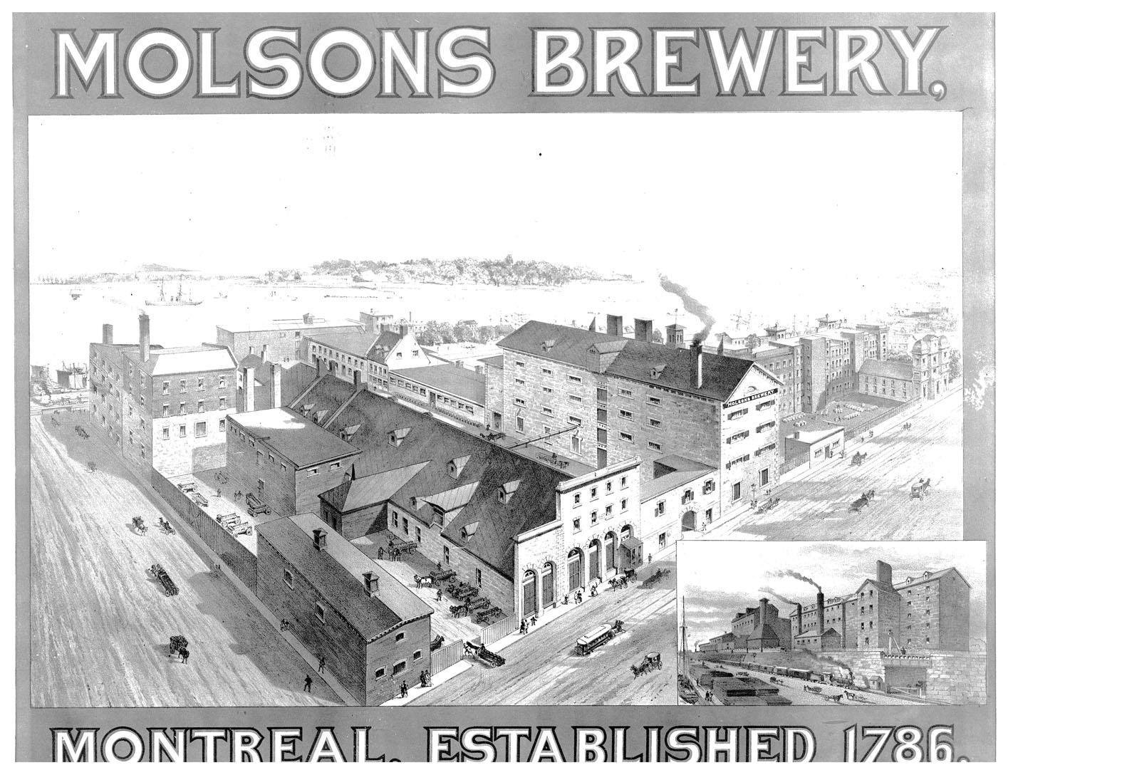 Représentation de la brasserie Molson vers 1860.