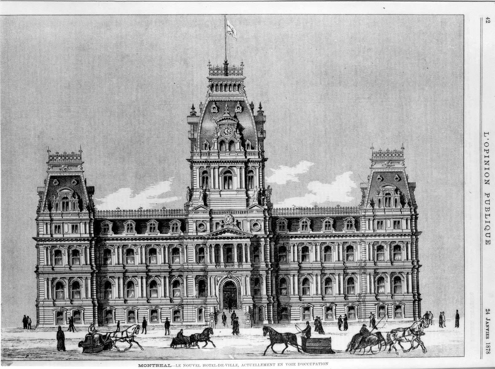 Illustration de l'hôtel de ville en 1878.