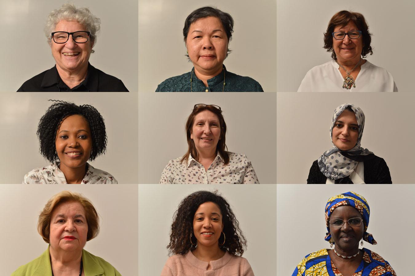 Assemblage de neuf photos de femmes, en gros plan, qui ont participé au projet Mémoires d'immigrantes.